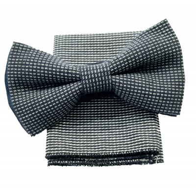 Bow tie with clutch in blue microfantase fabric