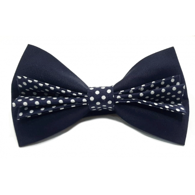 Men's bow tie in two micro pois fabric
