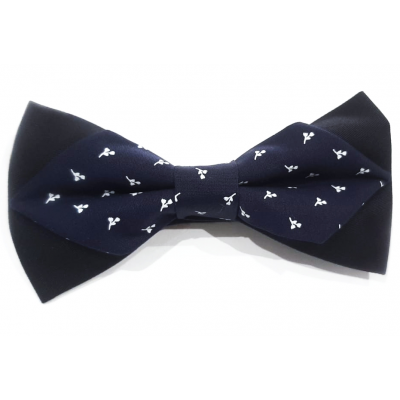 Men's bow tie in blue fabric with flowers