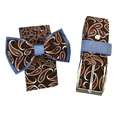 Complete set of bow tie, jacket pochette and brown belt