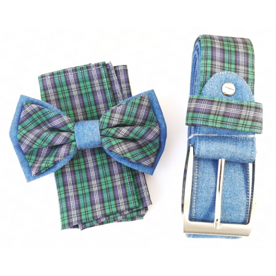 Complete set of bow tie, pocket square, jacket and green belt
