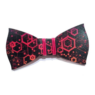 Printed Red wooden bow tie