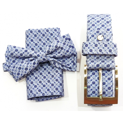 Complete set of bow tie, jacket pochette and Micro Fiori belt