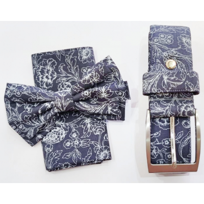 Complete set of bow tie, pocket square, jacket and belt with floral pattern