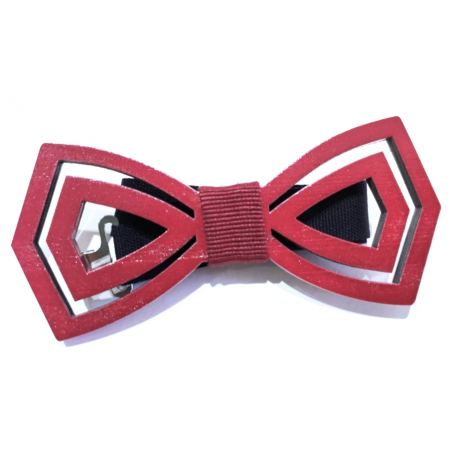 Wooden bow tie with two hole burgundy fabric knot