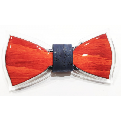 Bow tie in wood and resin with Natural cork knot
