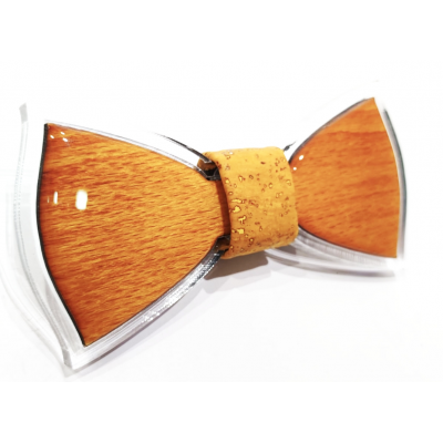 Bow tie in wood and resin with yellow ocher cork knot