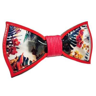 Bow tie in wood and resin with Flower Red rope knot