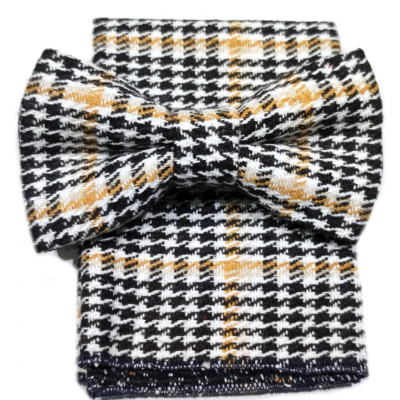 Bow tie with pochette in ocher houndstooth wool