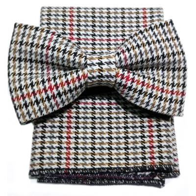 Bow tie with pochette in houndstooth wool
